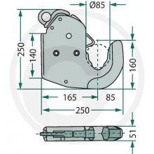 CBM Lower link quick connector Hook - Cat 4 (, image