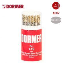 DORMER A002 HSS Jobber Twist Drill Set No. 419 - 19 Pieces - (1.0mm to 10.0mm), image